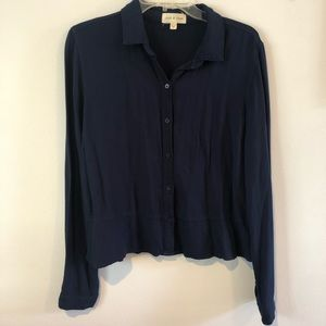 Anthropologie Cloth & Stone Navy Button Up